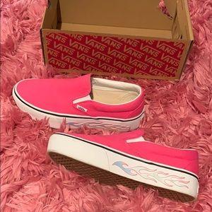 Pink flame slip on Vans